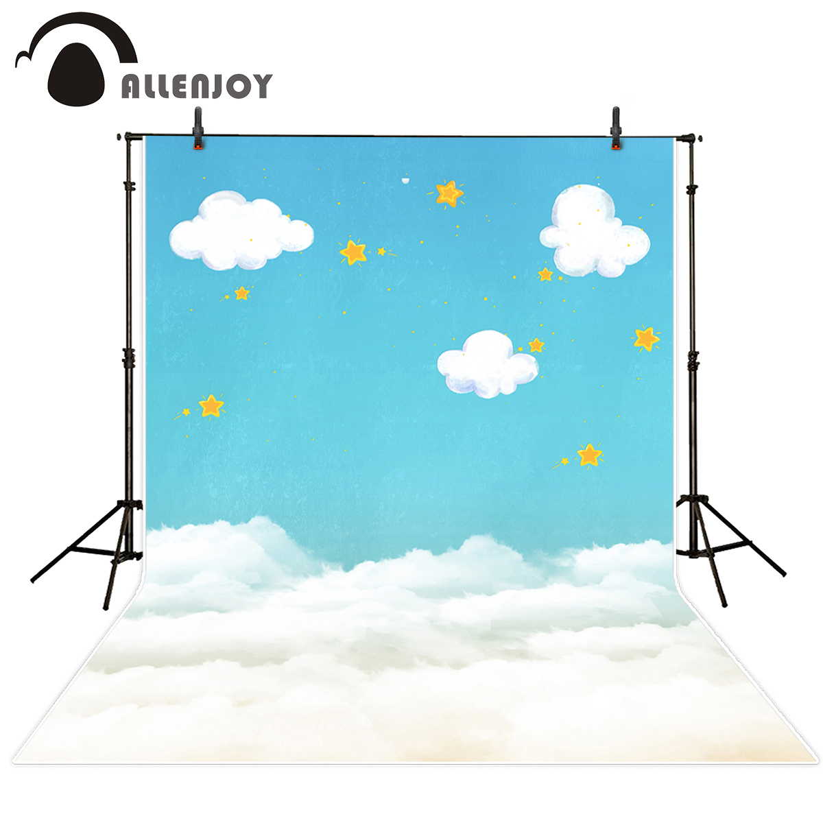 Allenjoy photography background blue sky white cloud stars new born baby birthday theme backdrop professional photo studio