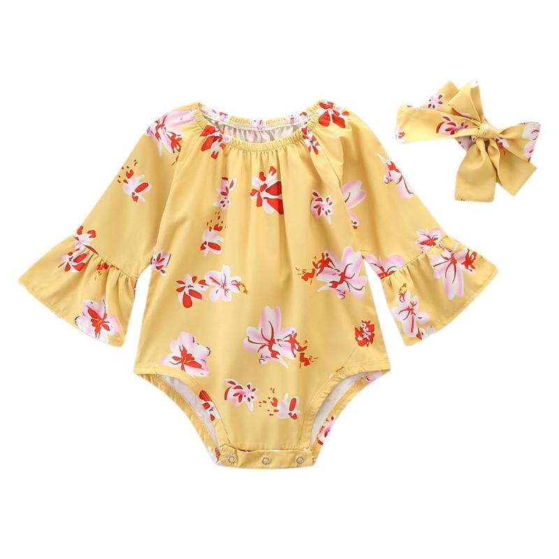 Summer Baby Rompers Casual Flare Three Quarter Sleeve Floral Print Rompers With Headband Infant Baby Girls Jumpsuit Clothing