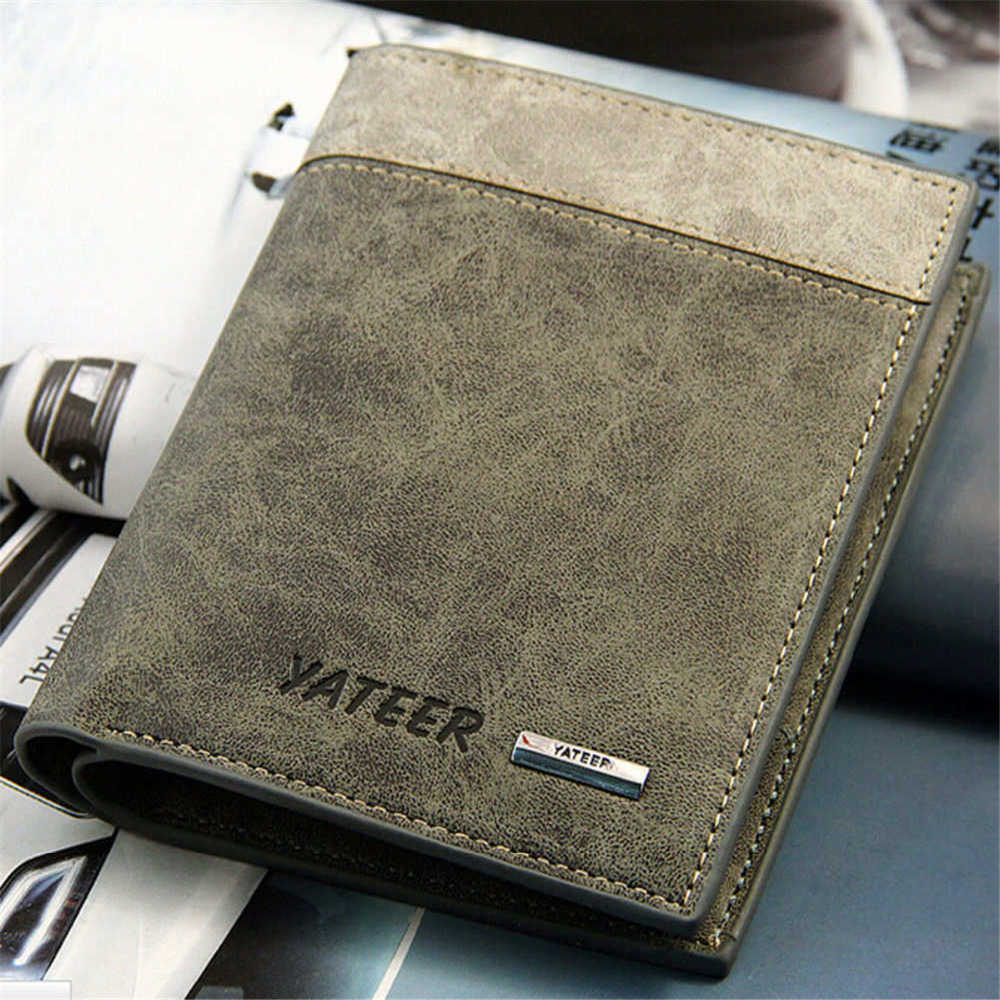 Hot New Business Brand Bifold Men's Leather Wallet ID Credit Card Holder Clutch Purse Pockets Short Wallets Coin Purse Gift
