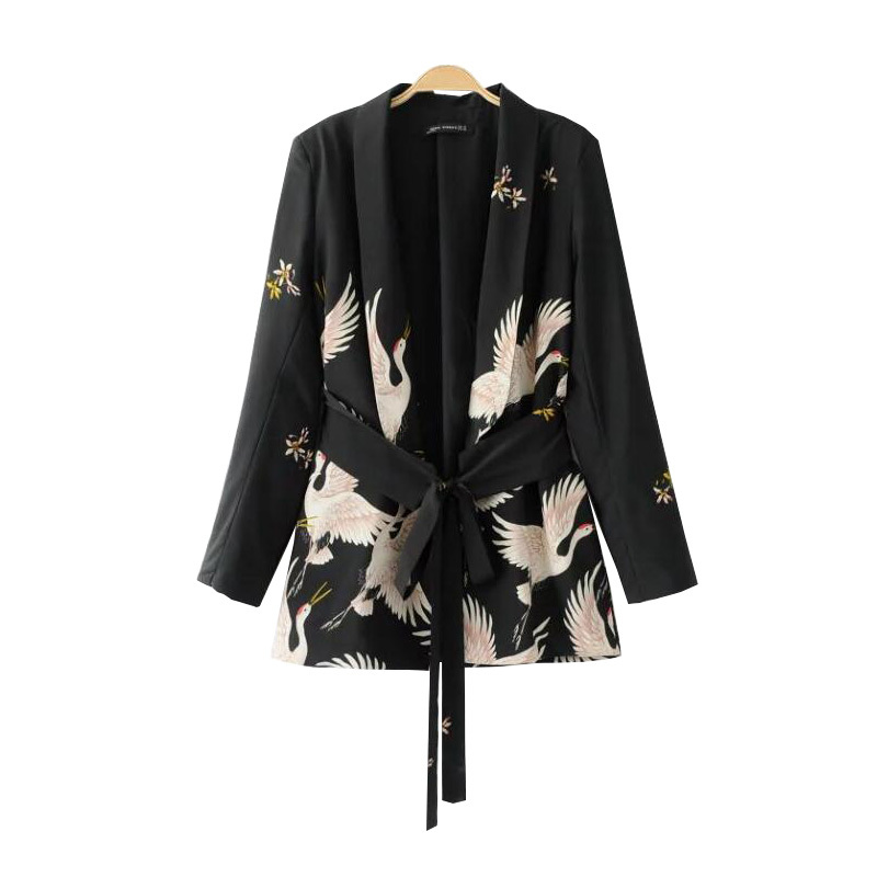 PEONFLY2018Fashion Women Red Crowned Crane printing Kimono style jacket Casual Long sleeve Coat Vintage Knotted belt Loose Tops
