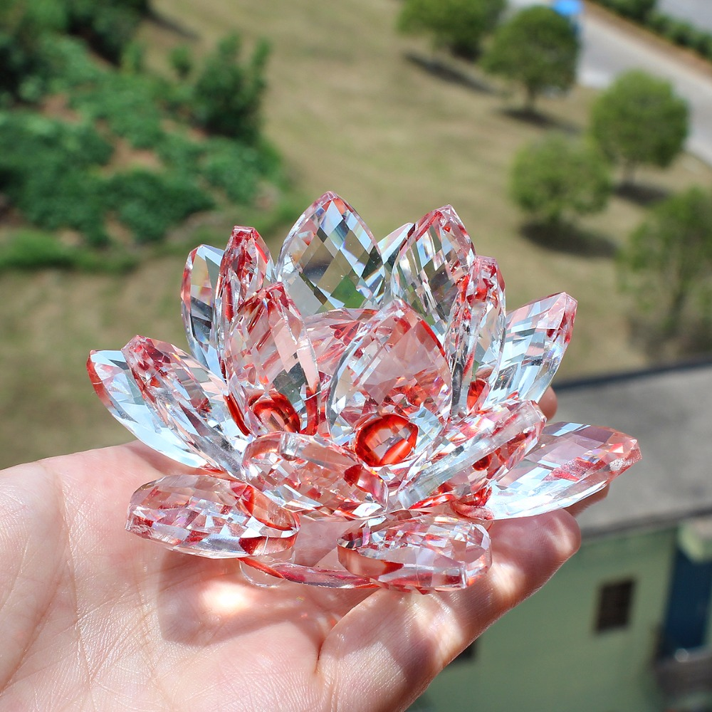 85mm Red Color Crystal Glass Lotus Flower Paperweight And Minerals