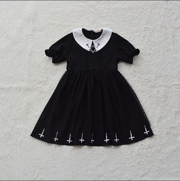 Vintage Gothic Cross Mini Dress Women Black Retro A-Line Dress Puff Sleeve Goth Female Summer Peter pan Collar Dresses Preppy  4