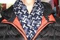 Мужчины в шлифованный шелк шарфы, Размер : 170 x 50 тёмный blueGeometry узоры, День отца подарки