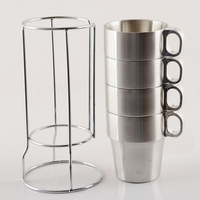 300ml Stainless Steel Coffee Beer Tea Mugs Double Walled Insulated w/ Rack