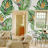 Wholesale Green Leaf And Birds Of Paradise Floral Mural Wallpaper For Living Room Wall Decor Free