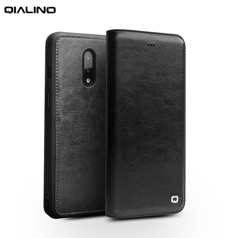 QIALINO Fashion Genuine Leather Phone Cover for font b OnePlus b font font b 7 b