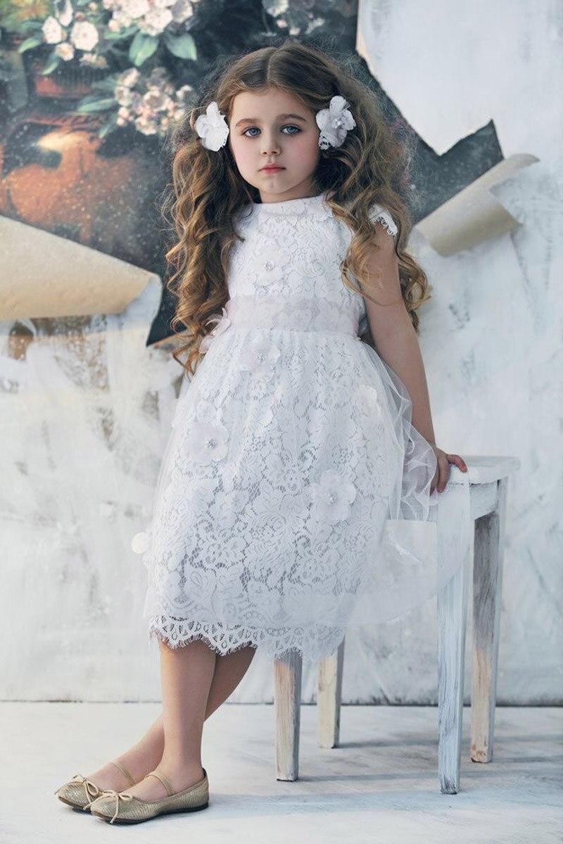 princess White lace flower girls dresses party Prom vestidos ...