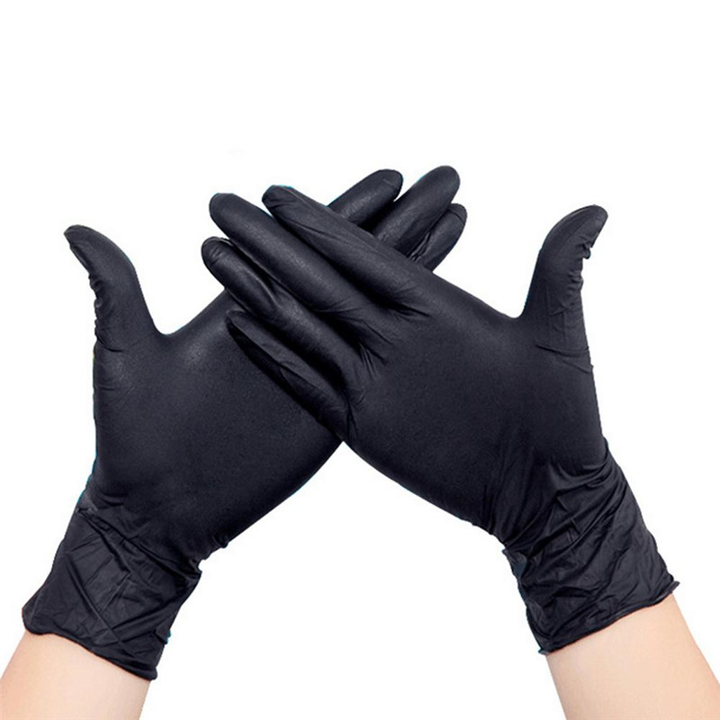 Best Price 100 Pcs Disposable Black Nitrile Gloves Medical Tattoo