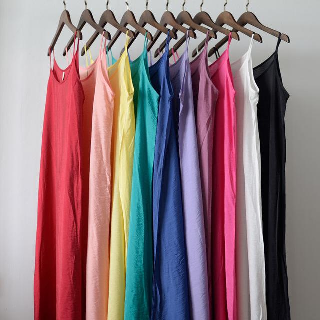 Serenamente vestidos verão 2017 dress sólidos multi-cor natural algodão de seda desliza vestidos plus size sexy deslizamento s200