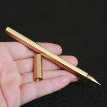 цены handmade pure hexagonal brass signature metal copper pen creative gifts with cloth bag 1pcs/lot