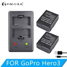 2 шт. gopro hero 3 Батарея 3,7 в AHDBT-301 hero 3 батарея + USB двойное зарядное устройство для gopro hero 3 + AHDBT302 аксессуары для камеры