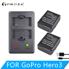 2 pcs gopro hero 3 battery 3 7V AHDBT 301 Hero3 battery USB dual charger for
