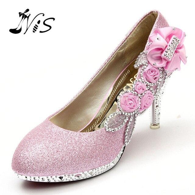 New Design Menina Mulheres Casamento Bombas de Noiva Glitter Cristal Falso rosa Flor Da Noite Partido Sapatos de Noiva 8 cm De Salto Alto Tribunal sapatos