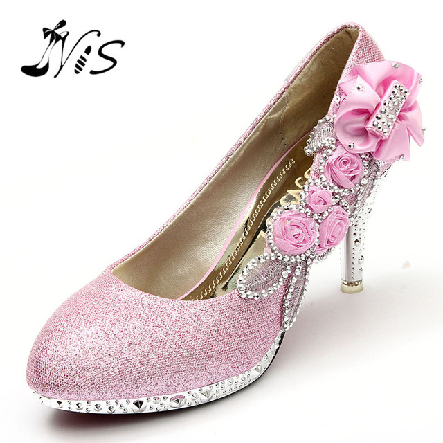 New Design Women Girl Wedding Pumps Bridal Glitter Fake Crystal Rose Flower Evening Bridal Shoes Party 8cm High Heel Court Shoes