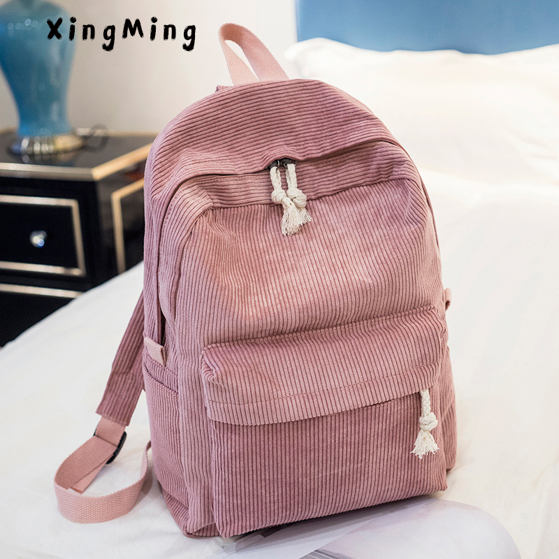 XINGMING woman Corduroy backpack 2018 school bag for adolescent girls female laptop backpacks for women school satchel corduroy goes to school