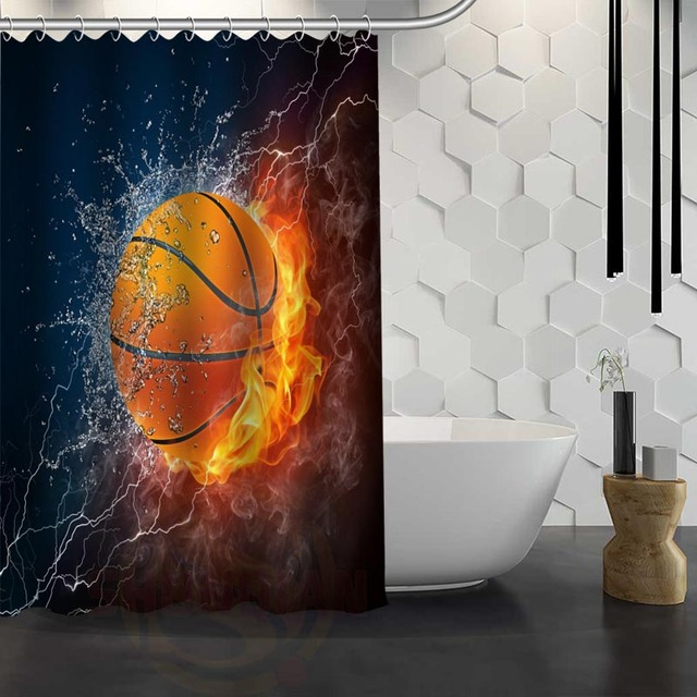 Vixm Hot Sale Custom Basketball Shower Curtain Bath For Bathroom Waterproof Fabric