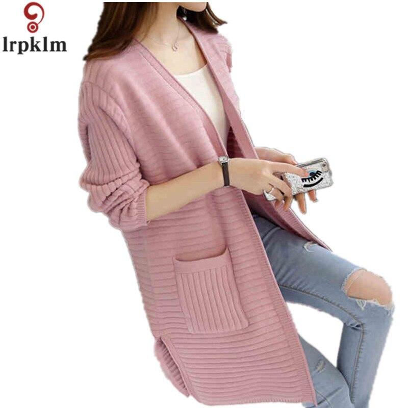 Hot Sale 2017 New Autumn Winter Women Cardigans Sweater Vintage Long Sweater Coat V-Neck Open Stitch Thin Women Sweater LZ174