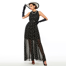 2017 Fashion Women's polka dots Maxi dress