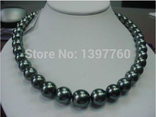 Free Shipping real natural 11 12mm black south sea pearl necklace 18 ()