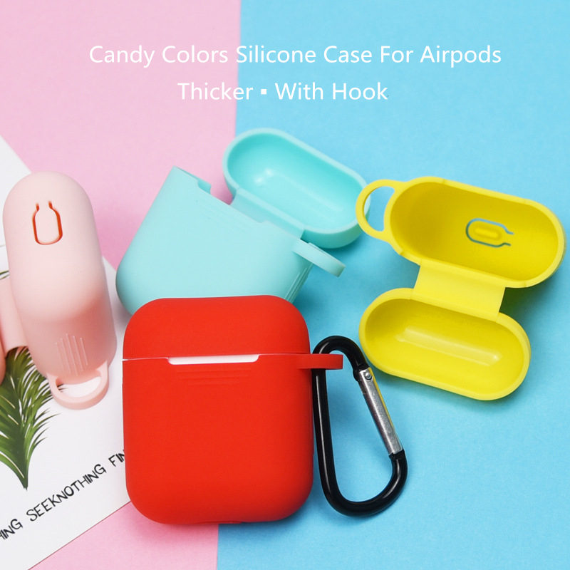 Thicken Candy Color Tpu Silicone Case Hook For Airpods I9s