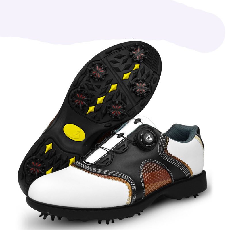 ФОТО PGM patent Golf Shoes Mens Leather shoes laces send activities nail automatic revolving spikes