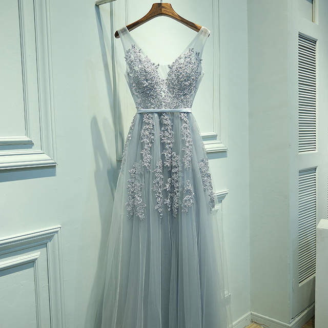 13869e37a52 placeholder It s Yiiya New Sleevesless Romantic Grey Pink Formal Dresses  Prom Gown Plus Size V-neck