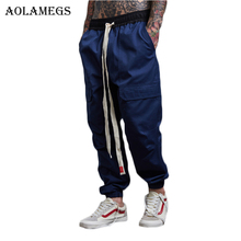 Aolamegs Harem Pants Men Japanese Cargo Pants Elastic Waist Track Pants Trousers Mens Casual Fashion Joggers Sweatpants Autumn