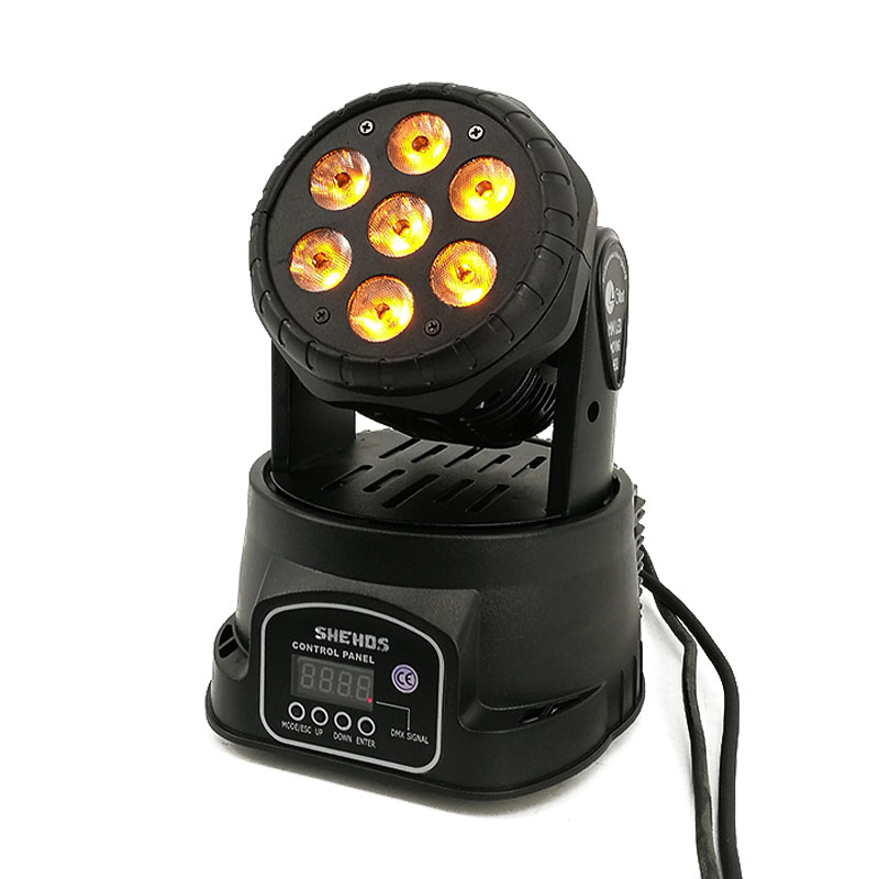 LED Wash 7x18W RGBWA+UV/7x12W RGBW Moving Head Lighting 6in1 BGBWA+UV For Disco DJ KTV 12/16DMX Channels LED Stage Dj Light