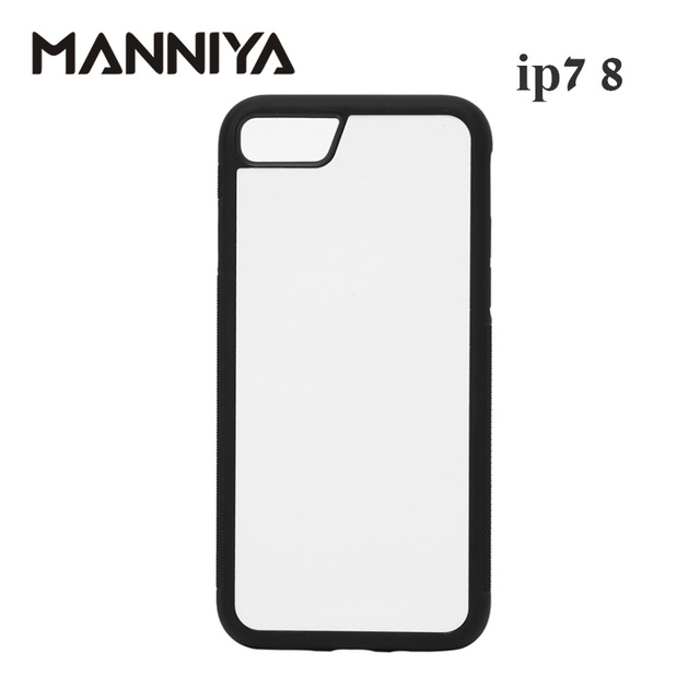 Manniya iphone 7 8 se 2020 ブランク昇華 tpu + pc ラバー電話ケースとアルミインサートとテープ 10 ピース/ロット