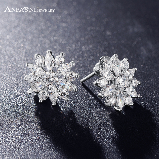Anfasni High Quality Bridal Jewelry Round And Marquise Cut Wedding Earrings Cubic Zirconia Flower Stud