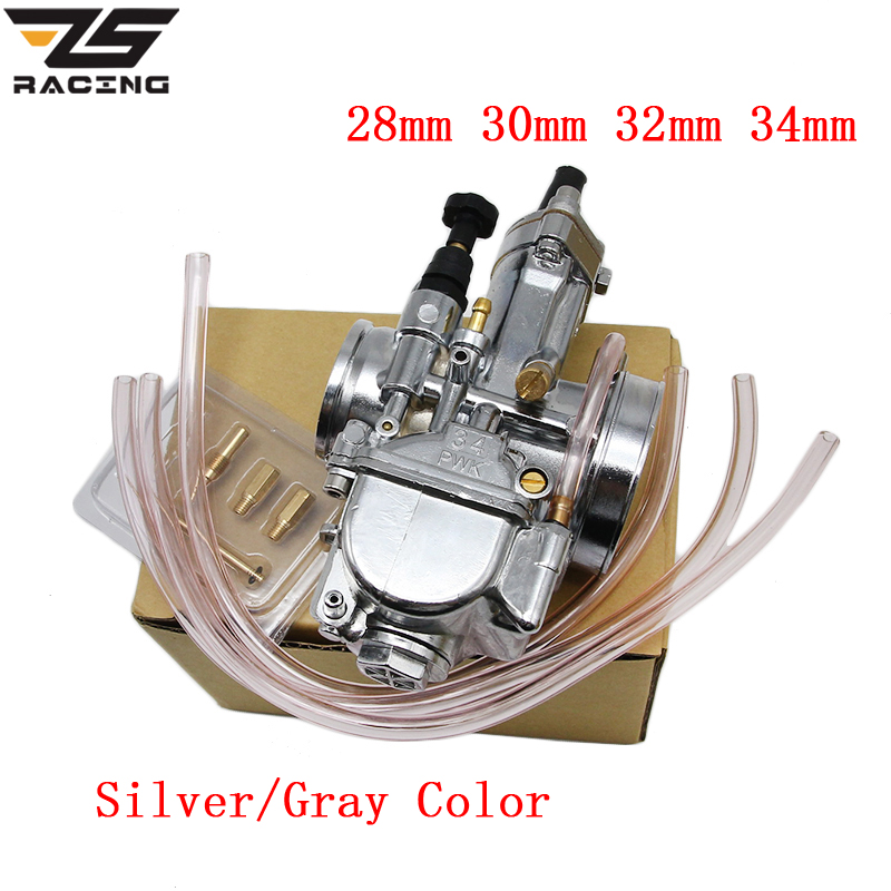 все цены на ZS Racing Gray Silver Motorcycle 4T Stroke Engine 28 30 32 34mm PWK OKO Carburetor Carburator Racing Scooter With Power jet онлайн