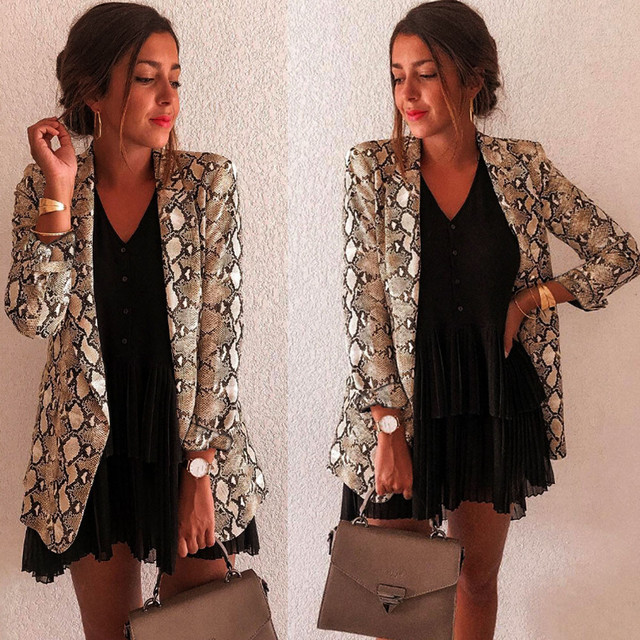Women Snake Print Long Sleeve Suit Coat Blazer Biker Jacket Outwear Tops Women's Snake Print Blazer women's suit top women 3