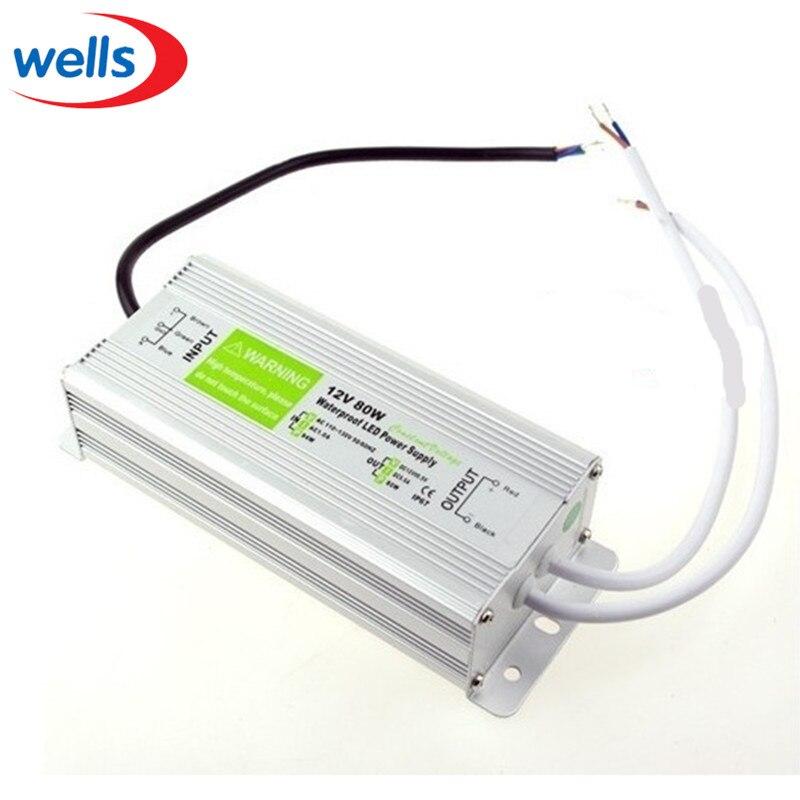 ФОТО DC 12V 80W Waterproof Electronic LED Driver Transformer Power Supply