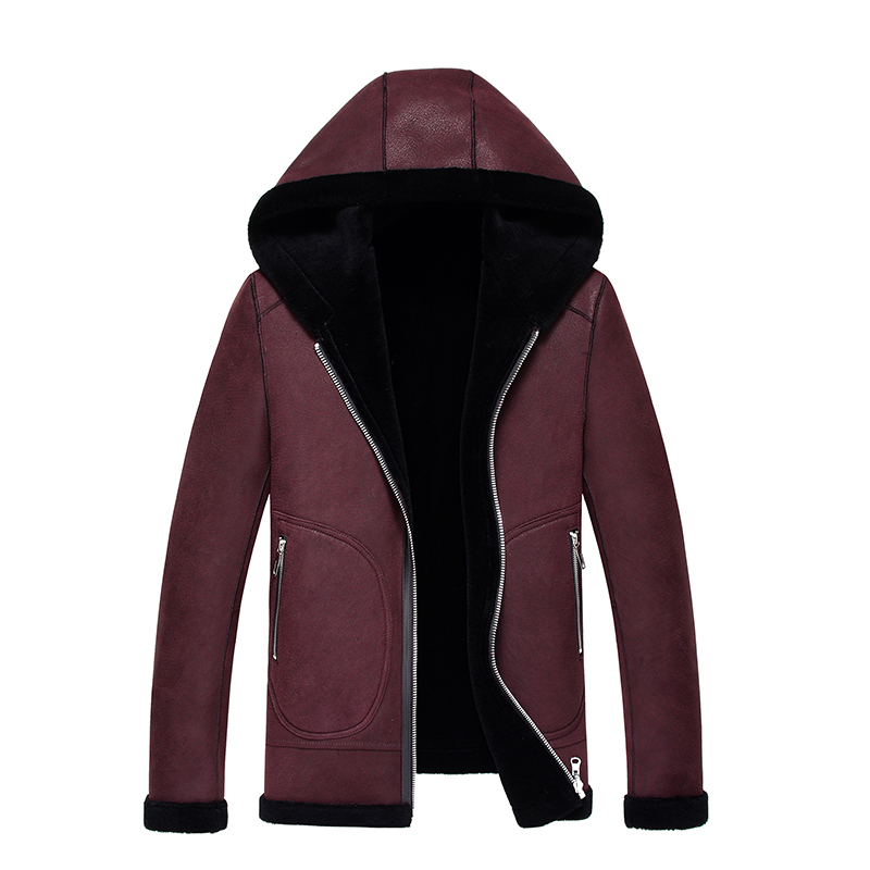 Genuine leather clothing motorcycle paragraph fur coat fashion sheepskin wool one piece Men leather clothing