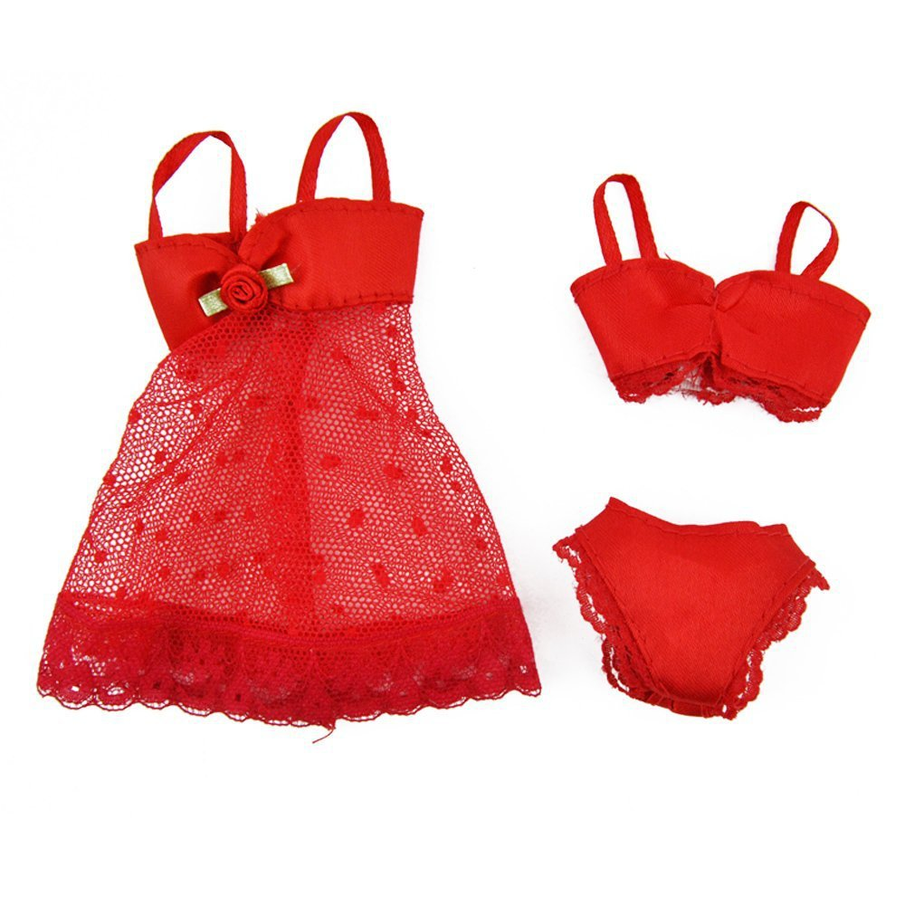 Online Shop LeadingStar Red 3 Pcs Pajamas Lingerie Underwear Dress ...