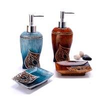 2Pcs Pump Liquid Soap Dispenser Resin Hand Soap Dishes Set Luxury Brand Hotel Bathroom Kitchen Sink Shampoo Shower Gel Bottle