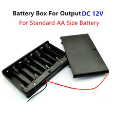 12 Volt battery Holder 8pcs AA Battery Box Case With ON / OFF power switch wire lead For Output DC 12V