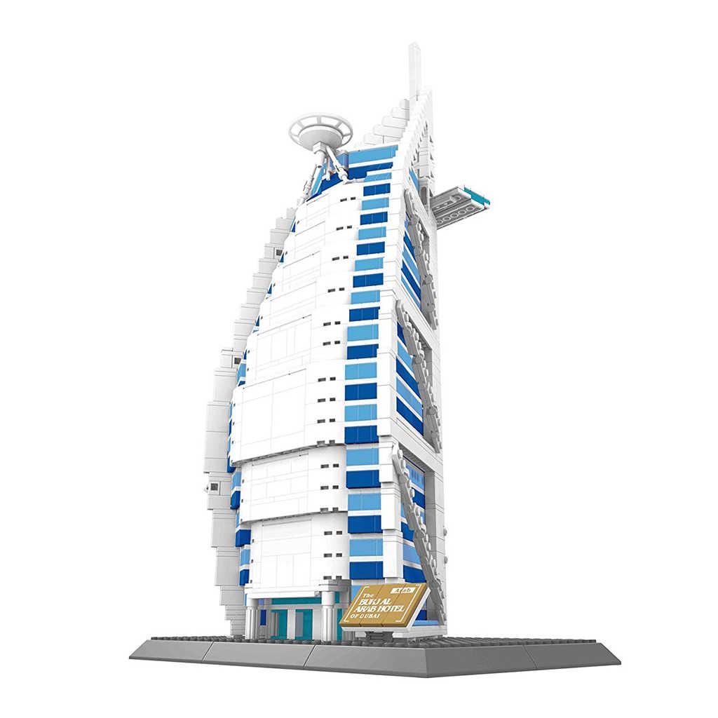1307 piezas Burj Al Arab Hotel de Dubai modelo 3D rompecabezas bloques de construcción Kits juguete de construcción regalo para niños