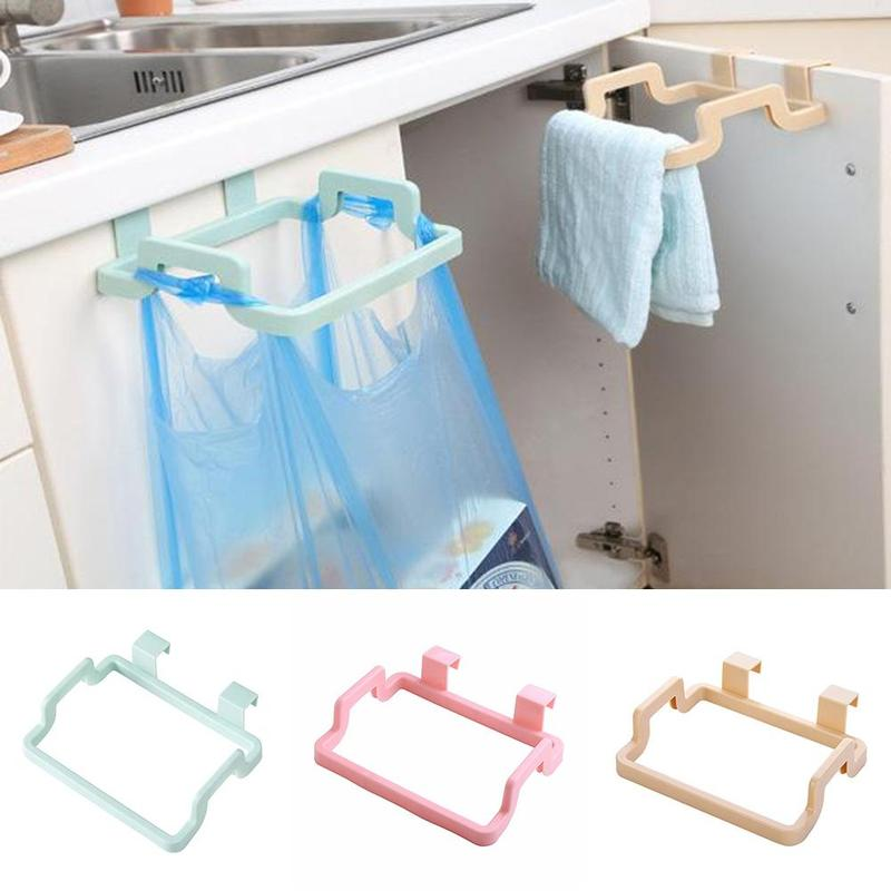 Kitchen Door Back Portable Garbage Bag Plastic Bracket Cabinet Door Rag Cabinet Hanging Plastic Trash Rack Hot Sale