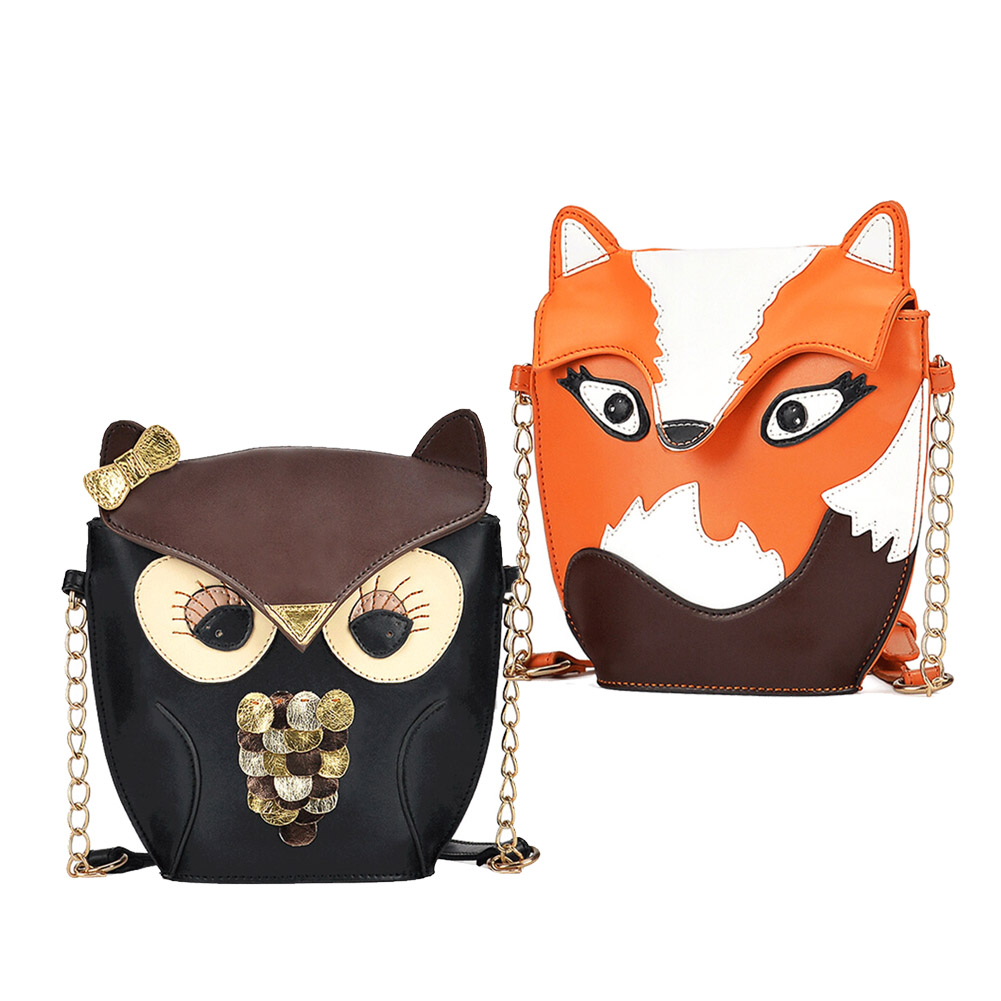 2015 New Fashion Women Leather Handbags Cartoon Bag Owl Fox Shoulder Bags Women