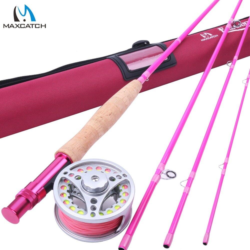 Удочка Maximumcatch 5WT для рыбалки, 9 футов, средней скорости, розовая, с катушкой и леской