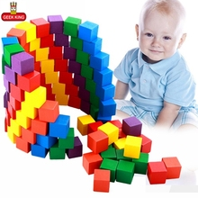 GEEK KING 100pcs Montessori Baby wooden Building Blocks toys for children 2-4 years old educational free shipping