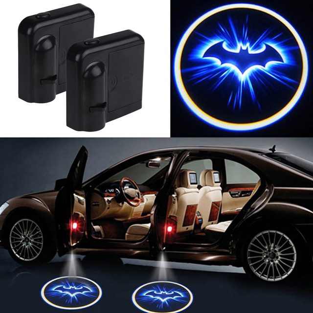 2 pcs led de porte de voiture bienvenue lumi re laser projecteur logo batman ombre light car. Black Bedroom Furniture Sets. Home Design Ideas