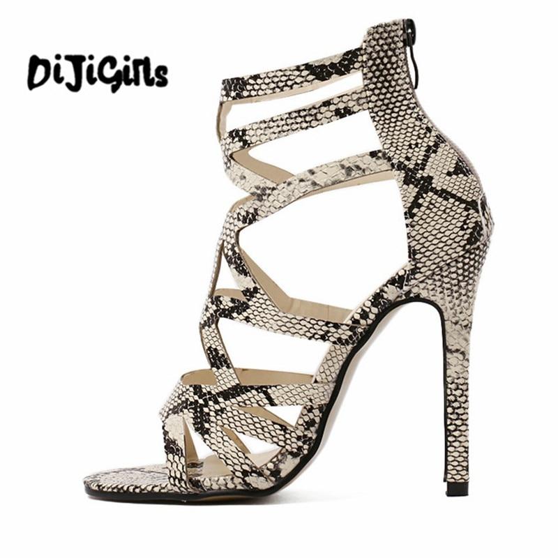 Summer Women Gladiator Sandals High Heels Fashion Sexy Snakeskin Leather Open Toe Thin Heel Cut-outs Female Summer Shoes утюг bosch tda1024110 sensixx x da10