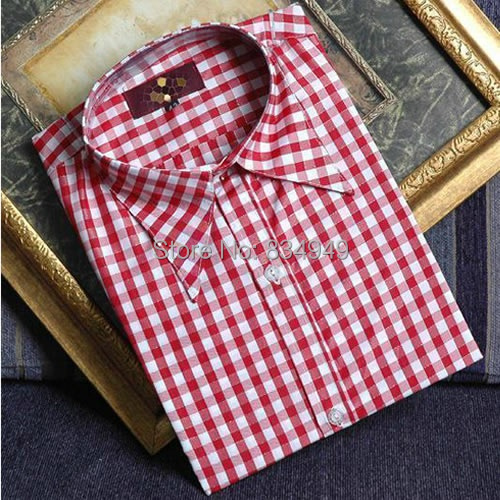 100 cotton red white checkered dress shirts tailor made