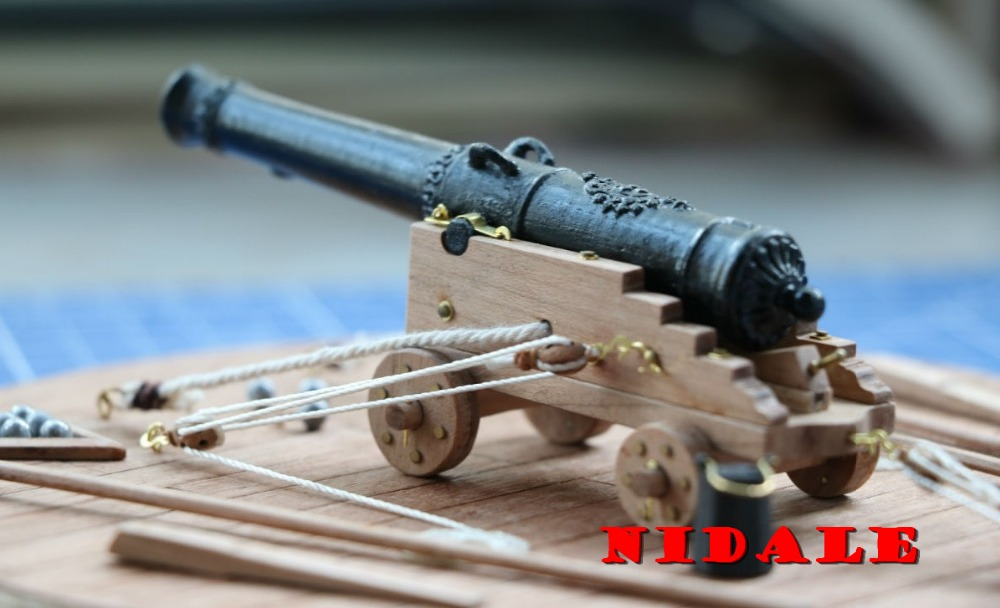 Scale 1 24 classics French ship cannon model kit 110mm brass foundry carving guns barbette wooden