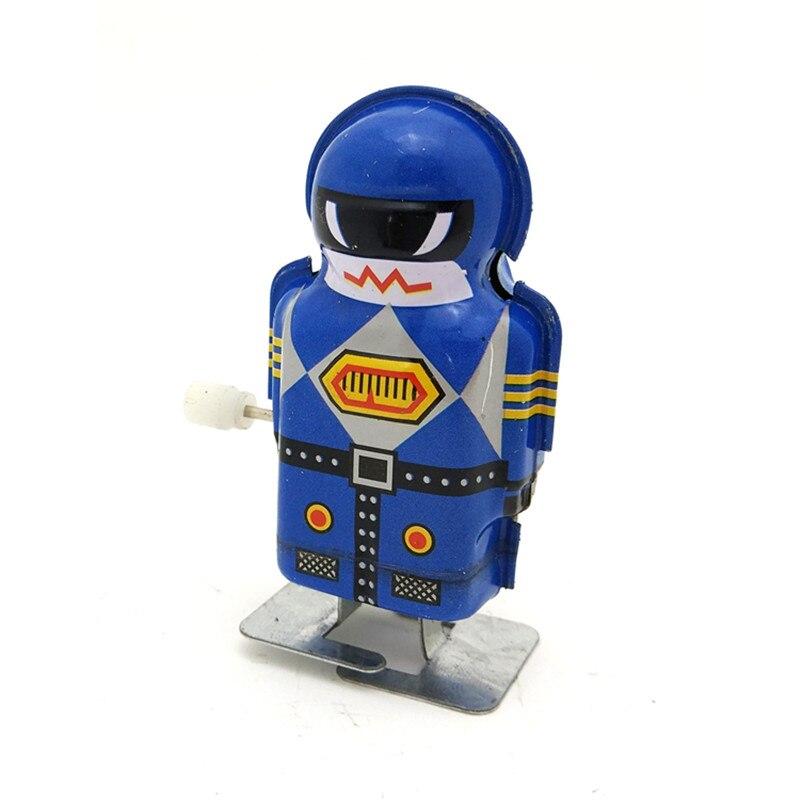 New Arrival Classics Vintage Clockwork Wind Up Magic Boy Robot Reminiscence Blue Color Children Kids Tin Toys Boys Gift