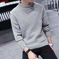 2017 new winter sets high collar men's sweaters Cultivate one's morality show thin solid color Fashion knitwear