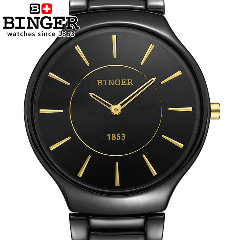 Switzerland luxury brand Wristwatches Binger Space ceramic quartz men's watch lovers style 300M Water Resistance clock B8006B-4 все цены