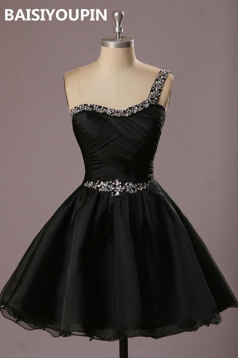 Us 5855 40 Offשחור שיבה הביתה שמלת Vestidos דה 15 Anos קורטו 2019 אחד כתף תיכון סיום שמלות בשמלות נשף מתוך חתונות ואירועים באתר Aliexpress